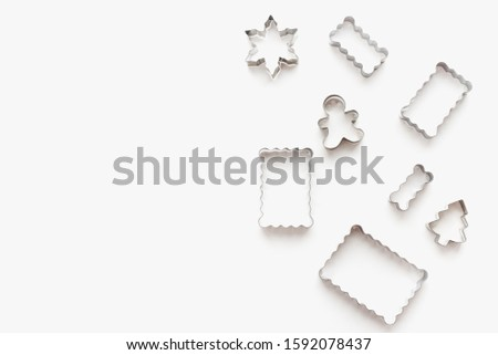 metal cookie cutters, cookie cutters on a white background, themed cookies, cookies for the new year #1592078437