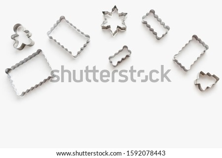 metal cookie cutters, cookie cutters on a white background, themed cookies, cookies for the new year #1592078443