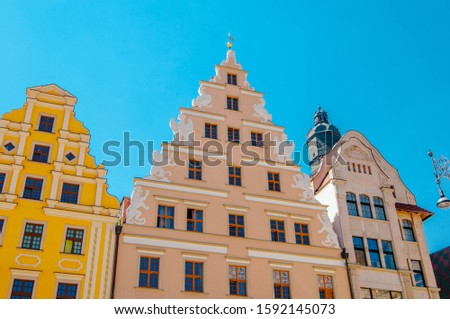 WROCLAW,POLAND. Architectural details On Market Squar In Sunny Day In Sunny Day. #1592145073