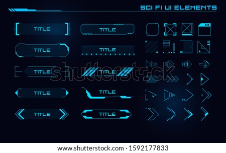 Set of Sci Fi Modern User Interface Elements. Futuristic Abstract HUD. Good for game UI.  Vector Illustration EPS10 Royalty-Free Stock Photo #1592177833