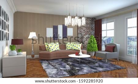Interior of the living room. 3D illustration. #1592285920