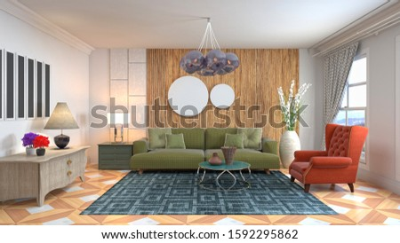 Interior of the living room. 3D illustration. #1592295862