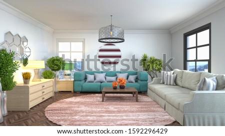 Interior of the living room. 3D illustration. #1592296429