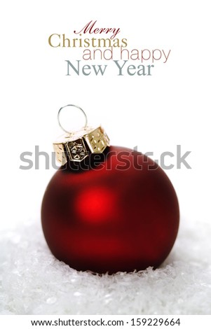 Christmas balls with snow on white  background (with easy removable sample text) #159229664