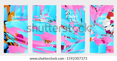 Abstract social media template with bright colored random small particle explosion. Sport music social media layout. Optical art dynamic background with outer space motion. Futuristic vector. #1592307373