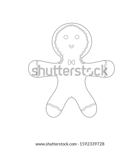 Gingerbread man outline line work coloring book for children poster banner advertisement #1592339728