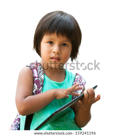 Portrait of cute native american girl holding tablet.Isolated on white. #159241196