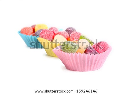fruit gums in cupcake holders