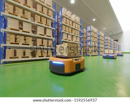 Interior of warehouse in logistic center with Automated guided vehicle Is a delivery vehicle #1592556937
