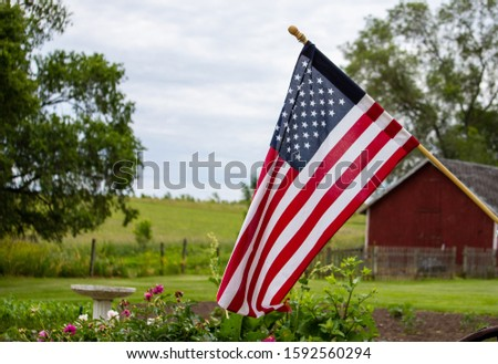 This picture was captured at an Iowan farm that was flying the U.S. flag on June 14, 2019.