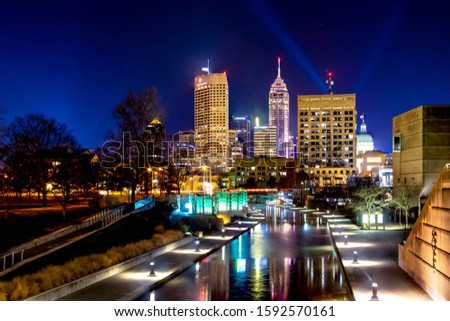 Night photograph of downtown Indianapolis