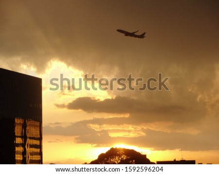 Airplane taking off. Take off plane. Aircraft silhouette #1592596204