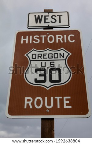 MAY 2019, USA - Road signs along the Lewis and Clark Expedition Trail #1592638804
