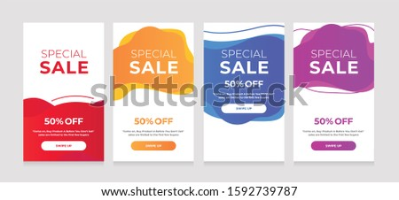 Modern Dynamic fluid mobile for sale banners. Sale banner template design, sale special offer set #1592739787
