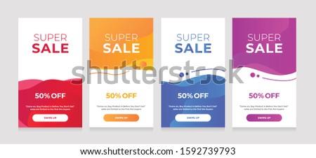 Modern Dynamic fluid mobile for sale banners. Sale banner template design, sale special offer set #1592739793