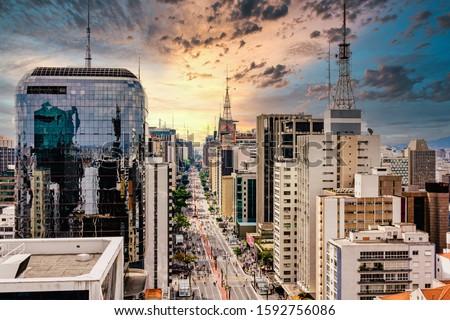 Paulista Avenue - São Paulo, Brasil. Royalty-Free Stock Photo #1592756086