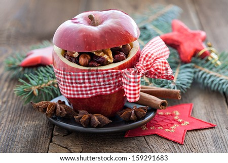 red apple with bow and filling #159291683
