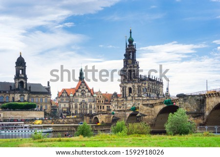 DRESDEN, GERMANY - July 23, 2017: street view of downtown Dresden, Germany #1592918026