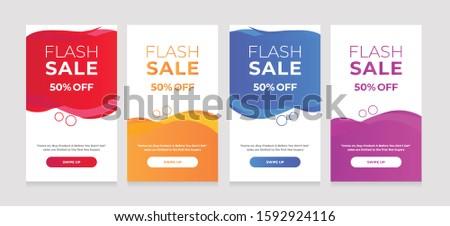 Modern Dynamic fluid mobile for sale banners. Sale banner template design, sale special offer set #1592924116