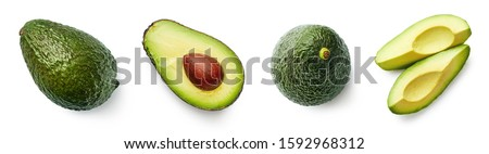 Fresh whole, half and sliced avocado isolated on white background, top view #1592968312