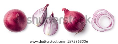 Fresh whole and sliced red onion isolated on white background, top view #1592968336
