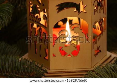 Christmas card with christmas crip, copy space                               #1592975560