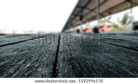 Black background wood floor atmospheric picture blurred