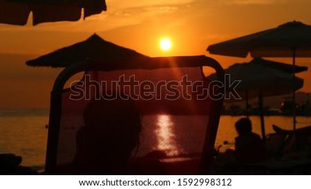 Sunset at the beach on Thassos Island, Greece. #1592998312