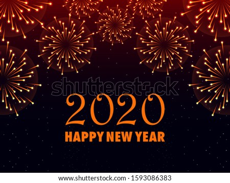 easy to edit vector illustration of Happy New Year 2020 wishes seasonal greeting background #1593086383