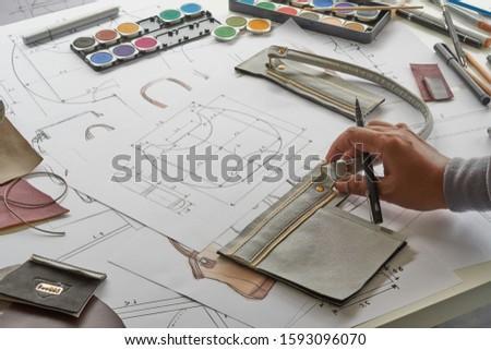 Designer stylish sketch Drawn design template pattern made leather clutch bag handbag purse Woman female Fashionable Fashion Luxury Elegant accessory.                                #1593096070