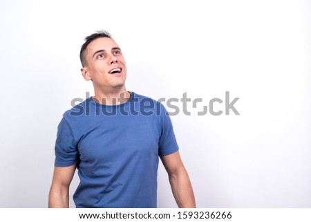 Man tricked by a sect. White background, Medium shot #1593236266