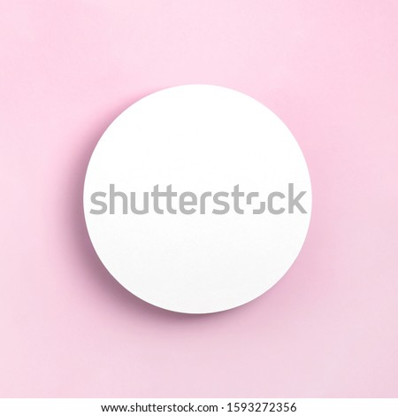 Mock up greeting card on pastel blue background. Top view, Place for text flat lay. Template design invitation card. Instagram format. #1593272356