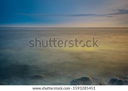 Smokey seascape at west head church point long exposure seashore shoreline coast along the ocean #1593285451