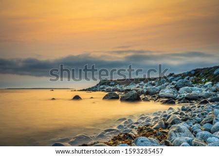 Smokey seascape at west head church point long exposure seashore shoreline coast along the ocean #1593285457