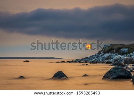 Smokey seascape at west head church point long exposure seashore shoreline coast along the ocean #1593285493