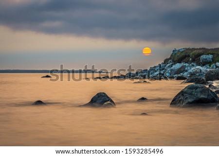 Smokey seascape at west head church point long exposure seashore shoreline coast along the ocean #1593285496
