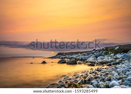 Smokey seascape at west head church point long exposure seashore shoreline coast along the ocean #1593285499