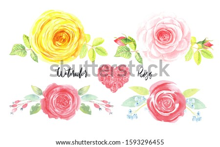 Roses romantic cute clip art set.  Hand painted floral watercolor stock illustration. Isolated element on a white background. Perfect for birthday, valentine, wedding invitations cards.