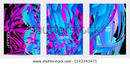 Abstract flyer template with bright colored random small particle explosion. Sport music social media layout. Optical art dynamic background with outer space motion. Futuristic vector. #1593343471