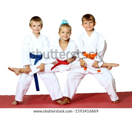 A boy and a girl stand in a karate stand in rack and a girl sits on a twine #1593416869