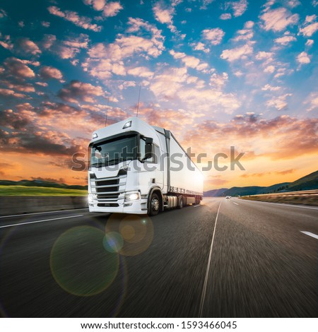 Truck with container on highway, cargo transportation concept. Shaving effect. #1593466045