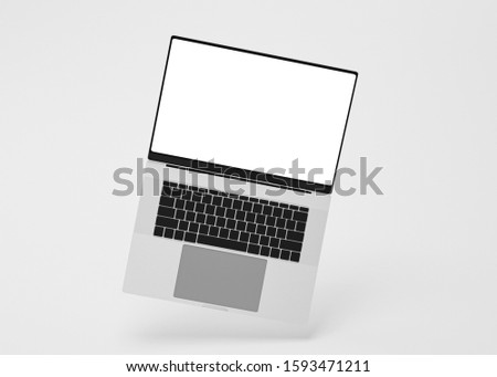Hovering aluminium flying laptop with blank screen new design on grey background, modern computer monitor closeup flying devices with white screen isolated highly detailed resolution,3d rendering #1593471211