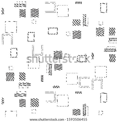 Abstract grunge grid stripe halftone background pattern. Black and white line vector illustration #1593506455