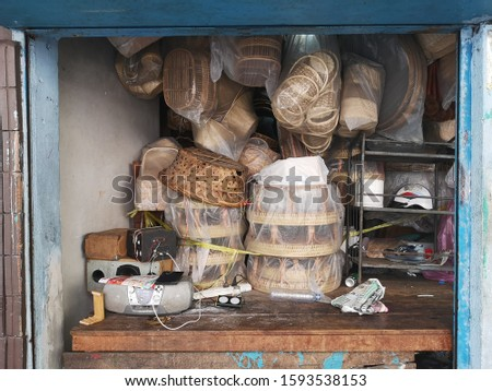 2019 Dec  Hand made wicker basket product shop in China Town,  Bangkok, the capital of Thailand, southeast Asia. The most popular travel destination of tourist from around the world. #1593538153