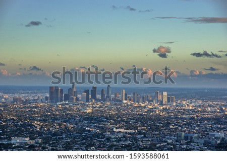 downtown Los Angeles viewed from the north just before sunset #1593588061