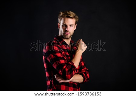 country style. charisma. western cowboy portrait. retro male fashion. Vintage style man. man checkered shirt. western. man black background. handsome man with beard. after barbershop. #1593736153