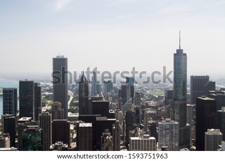 Beautiful Chicago skyline at daytime, top view, USA