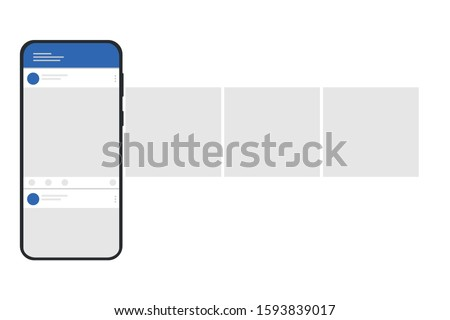Smartphone with interface carousel post on social network.