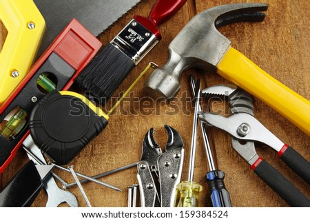 Assorted work tools on wood #159384524