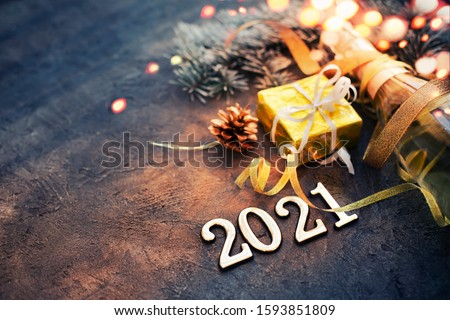 happy new year 2021 with champagne over stone background #1593851809